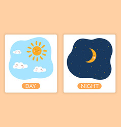 Opposite adjective words with day and night vector