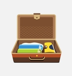 Packed suitcase for summer holiday vector image