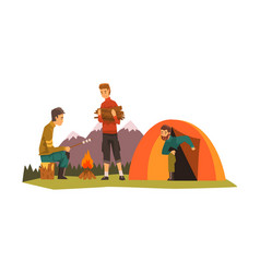 people camping tourists sitting near bonfire vector image