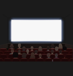 people watching movie at cinema hall interior vector image