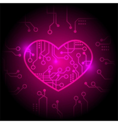 Pink circuit heart background vector image