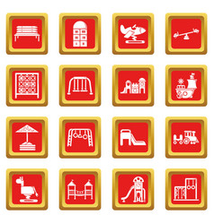 Playground equipment icons set red square vector