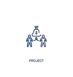 Project concept 2 colored icon simple line vector