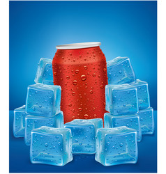Red aluminum tin cans in ice cubes vector