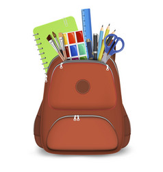 Red backpack with school supplies isolated vector