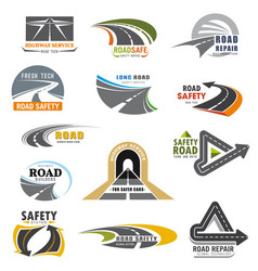 road icons building and construction company vector image