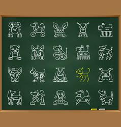 robot dog chalk draw line icons set vector image