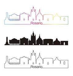 Rosario skyline linear style with rainbow vector
