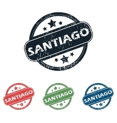 Round santiago city stamp set vector