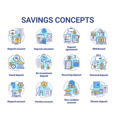 Savings concept icons set different banking vector