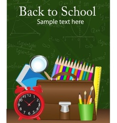 school supplies on the background vector image