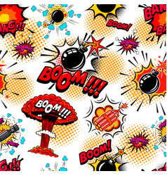seamless pattern with comic style bomb burst vector image