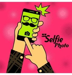 Selfie phonein red vector