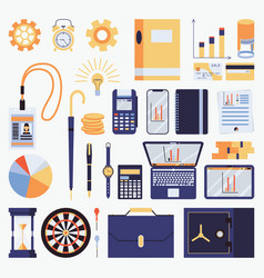 set with business objects vector image
