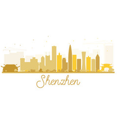 Shenzhen city skyline golden silhouette vector