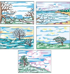 Sketches of landscapes with trees vector