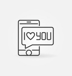 smartphone with i love you bubble concept vector image
