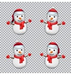 snowman in Santa hat vector image