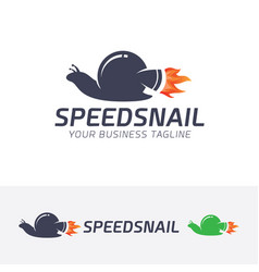 speed snail logo design vector image