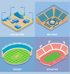 Sport stadium flat isometric icon set vector