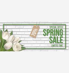 spring sale frame brick tulip vector image