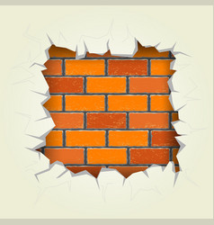 Square hole in the brick wall vector