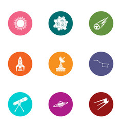 Starlight observation icons set flat style vector