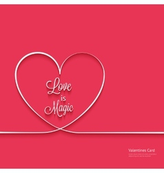 Valentines card with line heart vector image