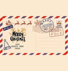 Vintage letter to santa claus postcard christmas vector