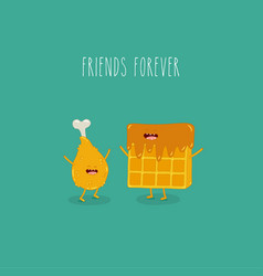 waffles with chicken leg friends forever vector image