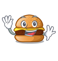 Waving cheese tasty burger on character table vector