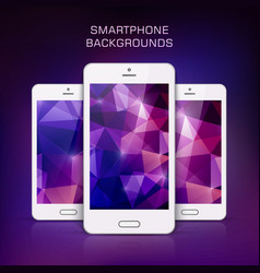 white mobile phone with triangular background vector image