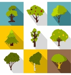 Woody plants icons set flat style vector