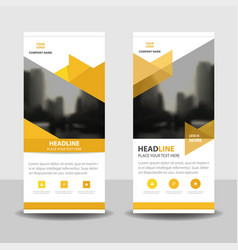 Yellow triangle business roll up banner design vector