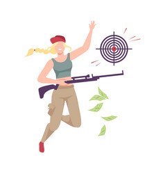 Young woman celebrating her win playing shooting vector