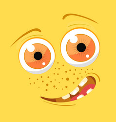 cartoon monster face halloween yellow vector image