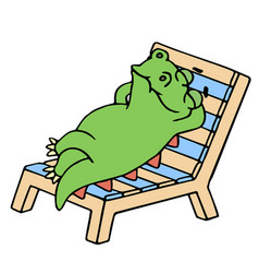 funny dinosaur resting on a deck-chair vector image