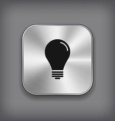 Light bulb icon - metal app button vector image