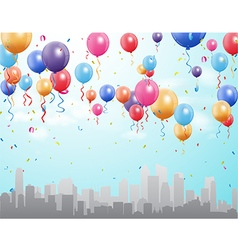 City landscape with colorful flying balloon vector image