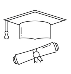 Graduation Hat and Diploma Thin Line Icon vector image vector image