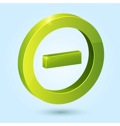 Green minus symbol isolated on blue background vector image vector image