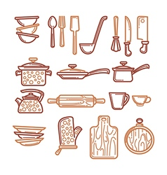kitchen objects vector image vector image