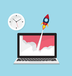 rocket launch from laptop with clock icon vector image vector image
