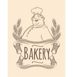 Chef baker label unicolorous vector image vector image