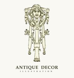classical antique decor with female portrait vector image vector image