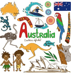 Collection of Australia icons vector image