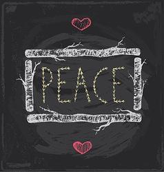 Vintage Christmas Peace Chalkboard Hand Drawn Set vector image