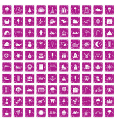 100 childrens parties icons set grunge pink vector image vector image