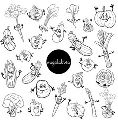 cartoon vegetables characters set color book vector image vector image
