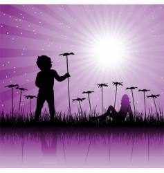 child on floral field vector image vector image